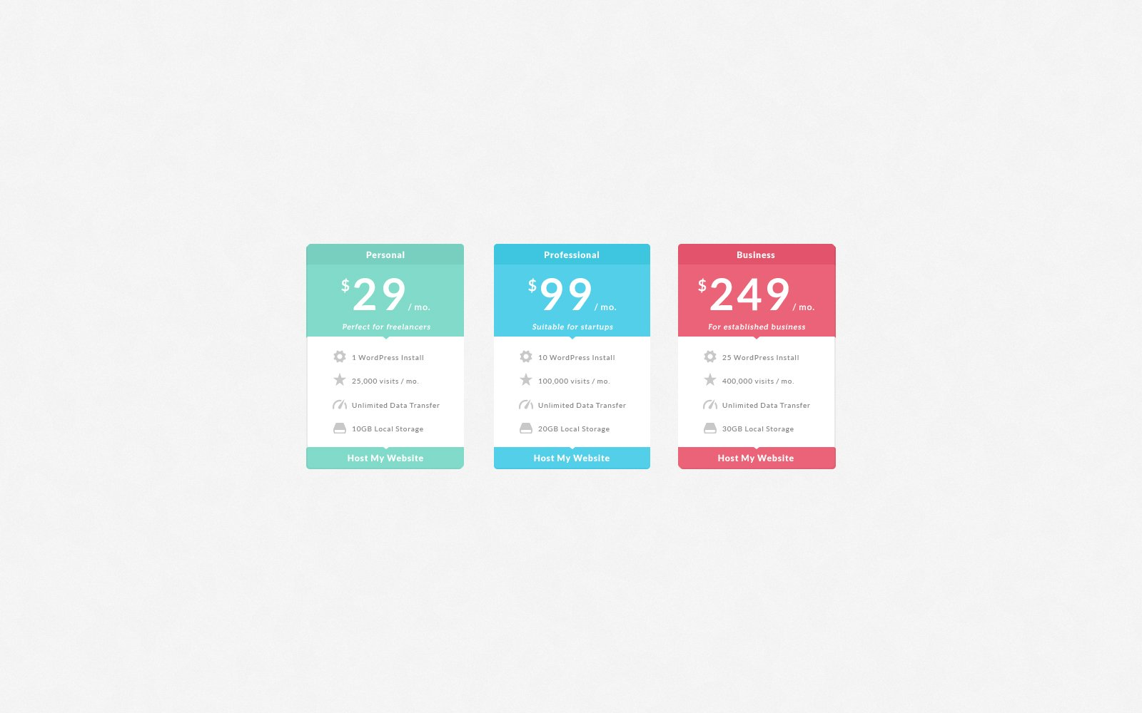 UI Element: Flat Pricing Table - Preview