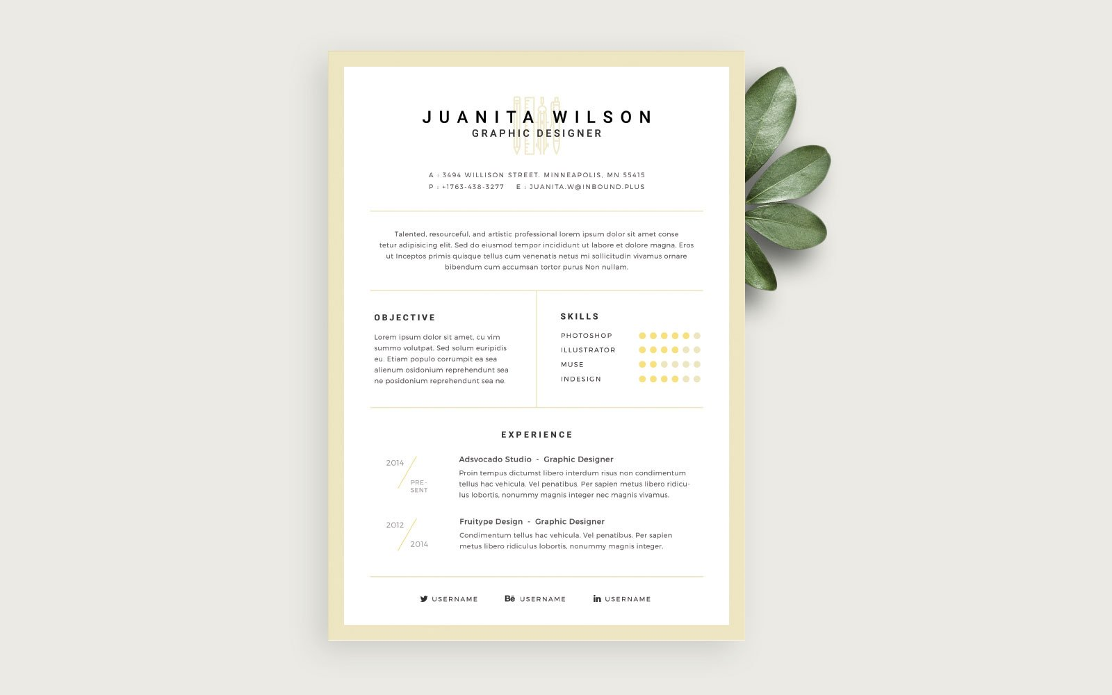 Template Clean Resume Psdchat